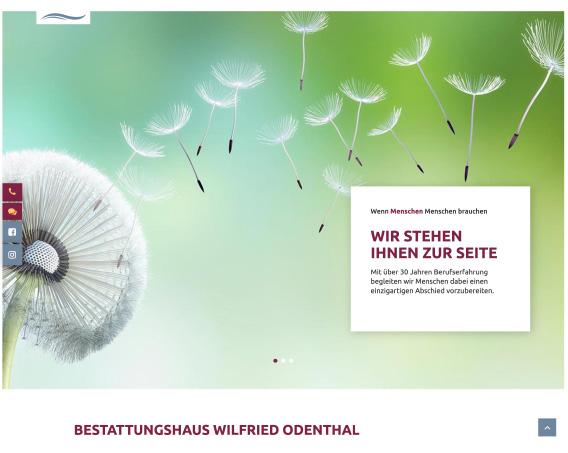 Screenshot der Greven Fullservice Website für Bestattungshaus Odenthal