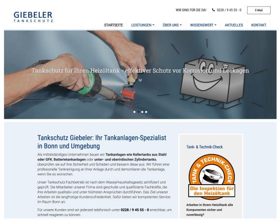 Screenshot der Greven Fullservice Website für Tankschutzt Giebeler